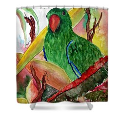 Green Parrot Shower Curtain by Lil Taylor