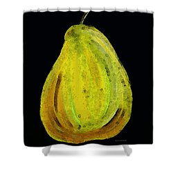 Green Pear - Contemporary Fruit Art Food Print Shower Curtain by Sharon Cummings