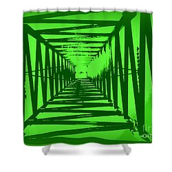 Green Perspective Shower Curtain by Clare Bevan