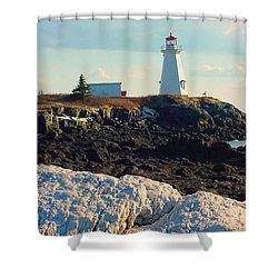Green Point Light And Quartz Outcrop Shower Curtain