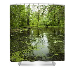 Green Blossoms On Pond Shower Curtain by Jerry Cowart
