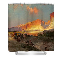 Green River Cliffs Wyoming Shower Curtain by Thomas Moran