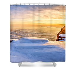 Green River Snow Shower Curtain by Chad Dutson