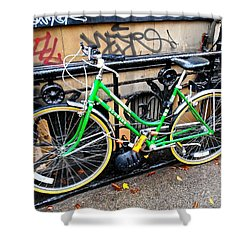 Shower Curtain featuring the photograph Green Schwinn Bike  Nyc by Joan Reese