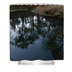 Shower Curtain featuring the photograph Green Sink Reflection by Paul Rebmann