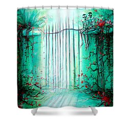 Green Skeleton Gate Shower Curtain