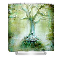 Green Skeleton Meditation Shower Curtain