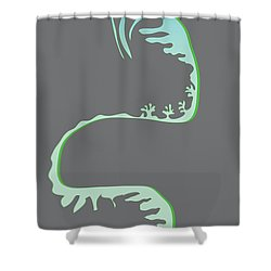 Green Spiral Evolution Shower Curtain