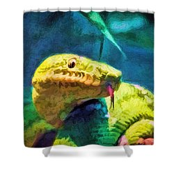 Green Tree Snake With Tongue Shower Curtain by Tracie Kaska