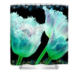 Green Tulip Glow Shower Curtain by Debra  Miller