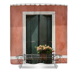 Shower Curtain featuring the photograph Green Venetian Window On Peach by Brooke T Ryan