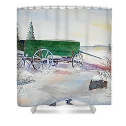 Green Wagon Shower Curtain