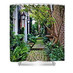 Shower Curtain featuring the photograph Green Walkway by Jean Haynes