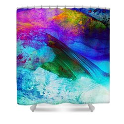 Shower Curtain featuring the painting Green Wave - Vibrant Artwork by Lilia D