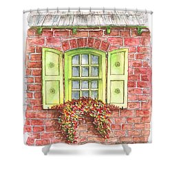 Green Window Shower Curtain