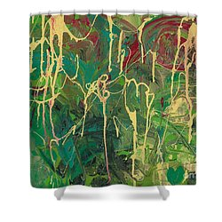 Green Yellow Abstract Shower Curtain