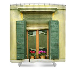 Green Yellow Venice Series Shutters Shower Curtain
