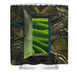 Greener Pastures Shower Curtain by Denise Mazzocco