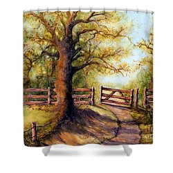 Greener Pastures Shower Curtain by Janine Riley