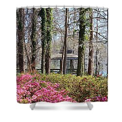 Greenfield Park And Lake Shower Curtain by Cynthia Guinn