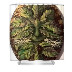 Shower Curtain featuring the painting Greenman by Megan Walsh