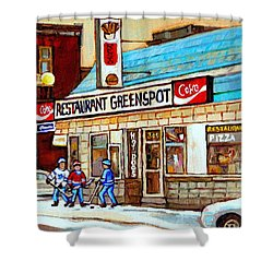 Greenspot Restaurant Notre Dame Street  South West Montreal Paintings Winter Hockey Scenes St. Henri Shower Curtain by Carole Spandau
