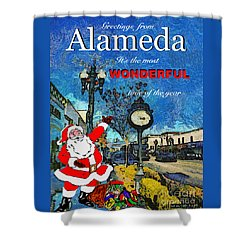 Alameda Christmas Greeting Shower Curtain by Linda Weinstock