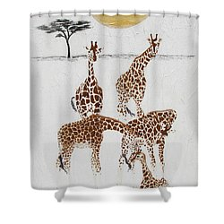 Shower Curtain featuring the painting Greeting The New Arrival by Stephanie Grant