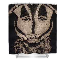 Greetings From New Guinea - Mask - Tribesmen - Tribesman - Tribal - Jefe - Chef De Tribu Shower Curtain