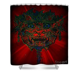 Gremlin In Dynamic Color Shower Curtain