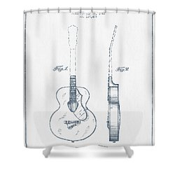 Gretsch Guitar Patent Drawing From 1941 - Blue Ink Shower Curtain by Aged Pixel