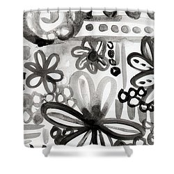 Grey Garden- Abstract Floral Painting Shower Curtain