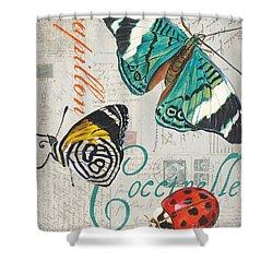 Grey Postcard Butterflies 2 Shower Curtain
