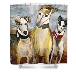 Greyhounds Shower Curtain by Leslie Manley