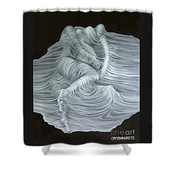Shower Curtain featuring the painting Greyish Revelation by Fei A