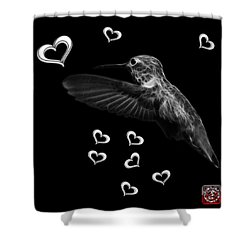 Shower Curtain featuring the digital art Greyscale Hummingbird - 2055 F M by James Ahn