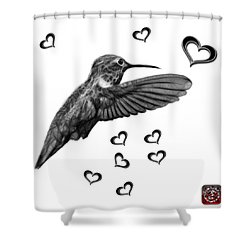 Greyscale Hummingbird - 2055 F S M Shower Curtain by James Ahn