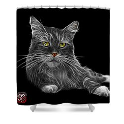Greyscale Maine Coon Cat - 3926 - Bb Shower Curtain by James Ahn