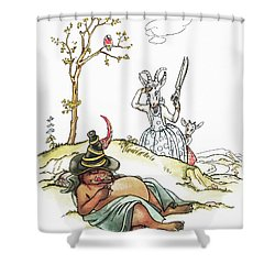 Grimm: Wolf And Seven Kids Shower Curtain by Granger