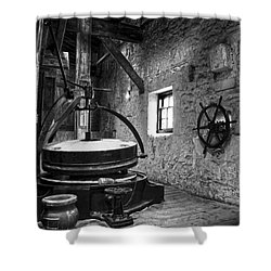 Grinder For Unmalted Barley In An Old Distillery Shower Curtain
