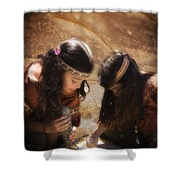 Grinding Corn Shower Curtain by Betty Depee