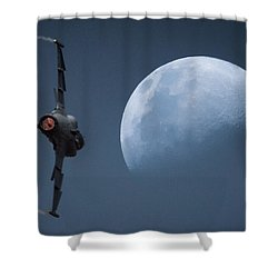 Shower Curtain featuring the photograph Gripen Moon by Paul Job