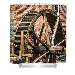 Grist Mill Water Wheel In Hobart Indiana Shower Curtain by Paul Velgos