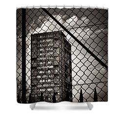 Gritty London Tower Block And Fence - East End London Shower Curtain