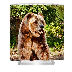 Grizzly Bear - Painterly Shower Curtain by Les Palenik