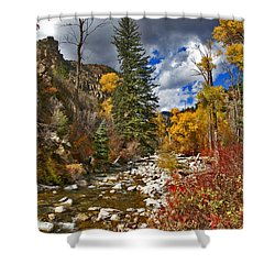 Shower Curtain featuring the photograph Grizzly Creek Vertical by Jeremy Rhoades