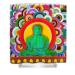 Shower Curtain featuring the painting Groovy Buddha by Joseph Sonday