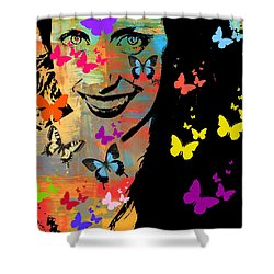 Groovy Butterfly Gal Shower Curtain