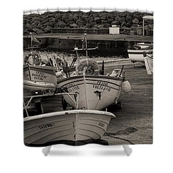 Groups Of Fishing Boats With Life Preservers Docked  Shower Curtain
