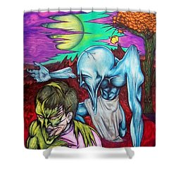 Shower Curtain featuring the drawing Growing Evils by Michael  TMAD Finney